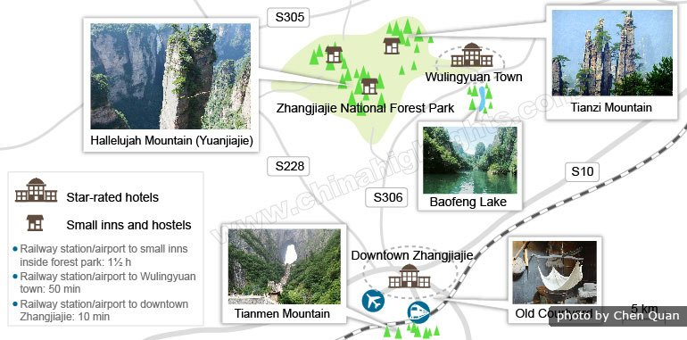 zhangjiajie accommodation map