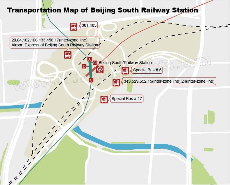Mapa de transporte de autobús de estación  ferroviaria sur de beijing