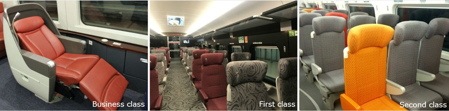 seat classes on high-speed train in China